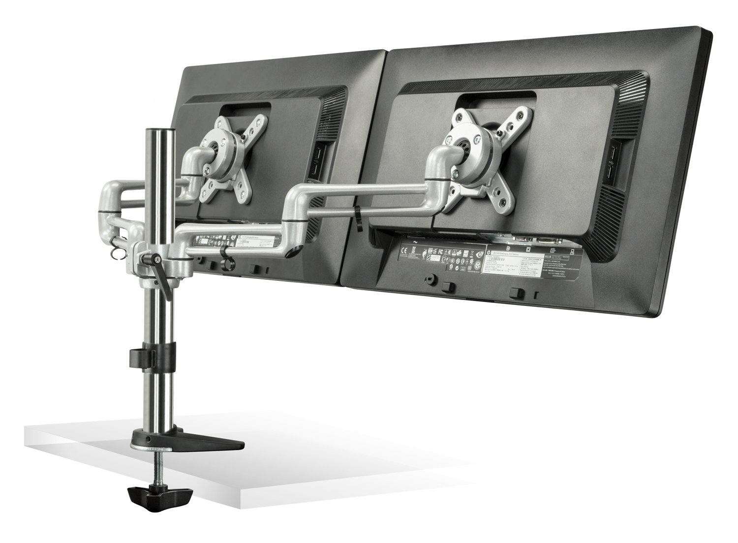 Mount-It! MI-732 Dual Monitor Office Desk Stand Mount Bracket with Clamp and Grommet Base for LCD LED Computer Monitors, Full-Motion Articulating Tilting 35.2 lbs Capacity, Up to 27 inch Black/Silver by Mount-It! (Image #2)