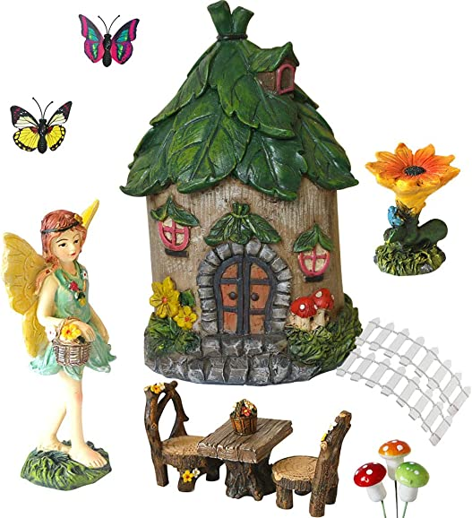 Miniature Fairy Garden Accessories Outdoor – Small Fairy Figurines Items Home Decorations – Fairy House Table Chair Set Fairy Garden Fairies Kit for Kids Fairy Figures Mini Garden Ornaments