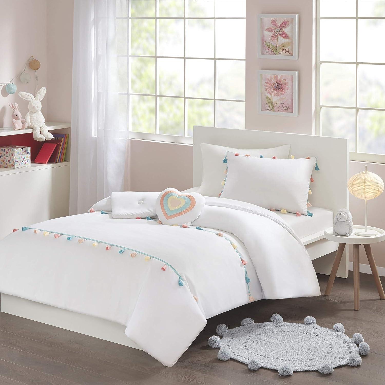 Mi Zone Kids Tessa Comforter Reversible Colorful Tassel Stripes Fringe Sham Embroidery Heart Pillow Ultra-Soft Overfilled Down Alternative Hypoallergenic All Season Bedding-Set, Full/Queen, White