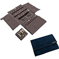 Becko Jewelry Organizer Roll Travel Jewel Bag case for Multiple Necklaces, Rings, Bracelets, Supple Leather & Suede, Large Capacity Without Crease, Lightweight, Portable & Practical