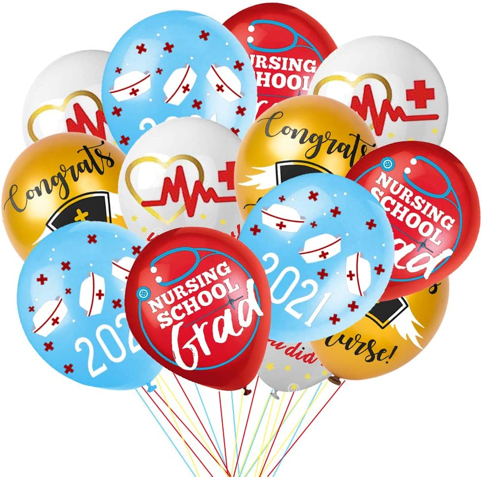 Nursing Graduation Party Decorations Balloons 2021, Congrats Class of 2021 Medical Doctor Nurse Graduation Party Decorations RN Decor