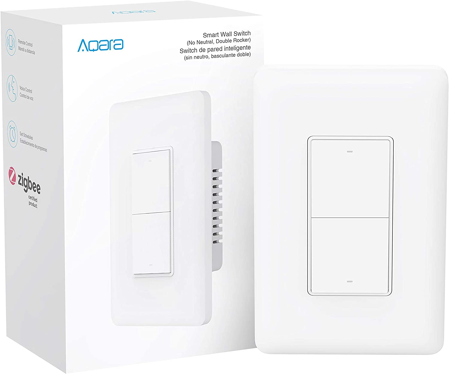 Aqara Smart Wall Switch (No Neutral, Double Rocker), Requires AQARA HUB, Zigbee Switch, Remote Control and Set Timer for Home Automation, Compatible with Alexa, Apple HomeKit, Google Assistant
