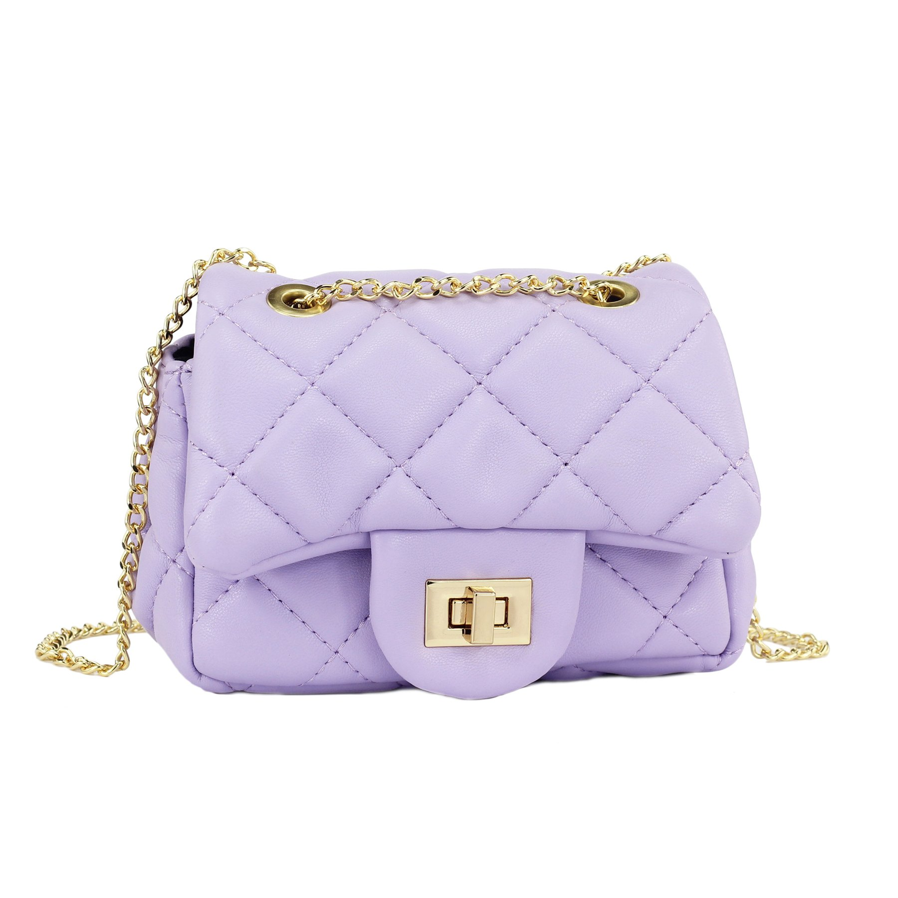 6e6a730e14f6 Galleon - CMK Trendy Kids Glitter Toddler Purse For Girls Sparkly Quilted  Little Girl Purses (Lambskin Purple)