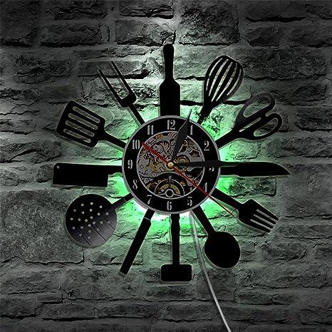 LED iluminación de utensilios de cocina de cubertería de cocina de vinilo reloj de pared Vintage