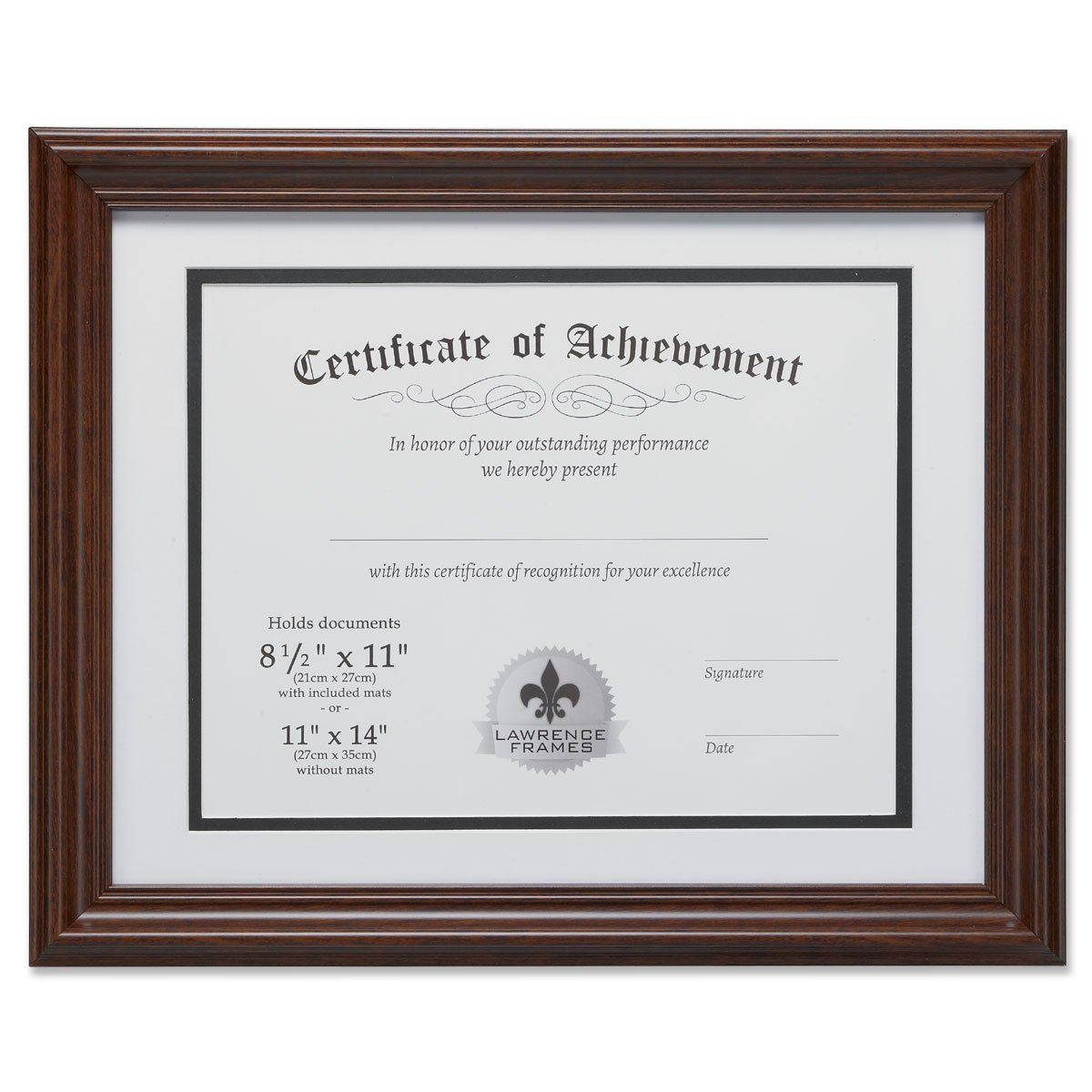 Lawrence Frames Dual Use 11 by 14-Inch Certificate Picture Frame with Double Bevel Cut Matting for 8.5 by 11-Inch Document, Walnut 186111