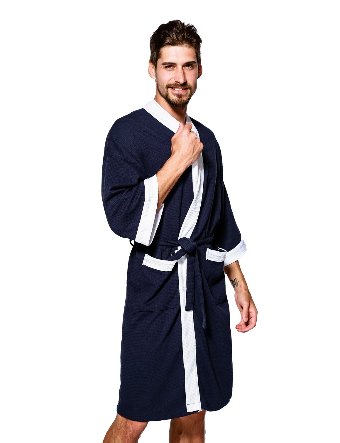 Jearey Men's Kimono Robe Cotton Waffle Spa Bathrobe Lightweight Soft Knee Length Sleepwear with Pockets(Navy-White, L)