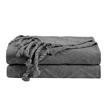 PICCOCASA Solid Cotton Knit Throw Blanket,100% Cotton Soft Decorative Sofa  Throws Dark Gray Textured Knitted Throw Blankets with Tassels for Couch and  ...