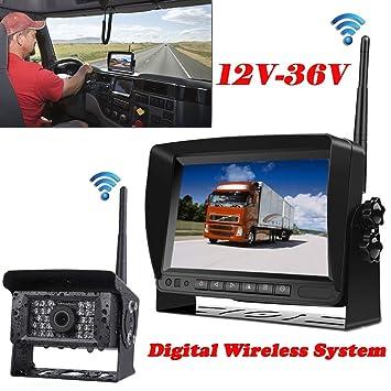 Sistema de cámara de seguridad inalámbrica digital de 12V-35V para vehículo de 7 pulgadas