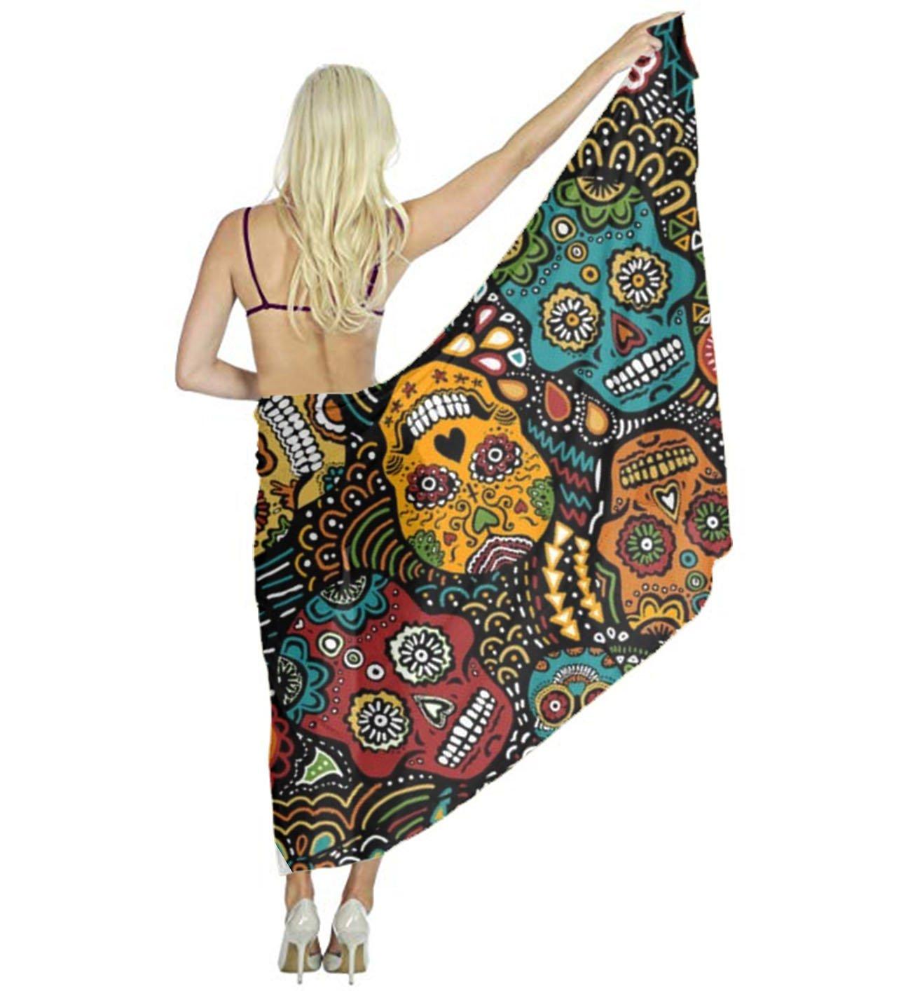 AMERICAN TANG Perfect gift - Swimwear beach scarf cover up for women - Mexican Sugar Skulls Beach Sarong Wrap - Bikini Swimsuit Wrap Chiffon Scarf skirt