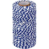 ROSENICE Natural Cotton Twine String Bakers Twine 100M (Navy Blue White)