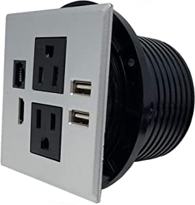 """Desktop & Conference Room Power Grommet Outlet, FITS 3 1/8"""" - 3 1/4"""" 2 (TR) AC Outlets, 2 USB Charging Ports, 1 CAT 6, 1 HDMI, ETL Listed (Silver - 3.15"""" - 3.25"""" - DC-8589)"""