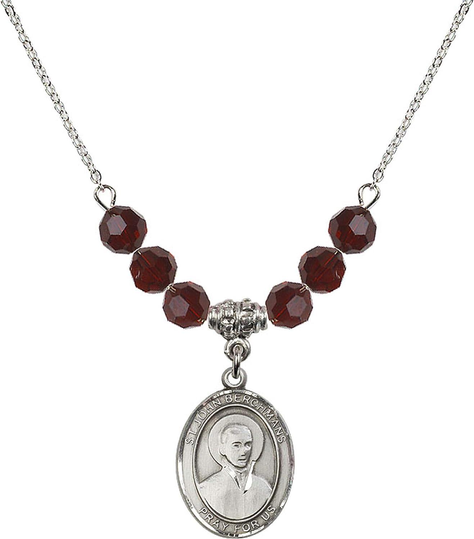 Bonyak Jewelry 18 Inch Rhodium Plated Necklace w// 6mm Red January Birth Month Stone Beads and Saint John Berchmans Charm