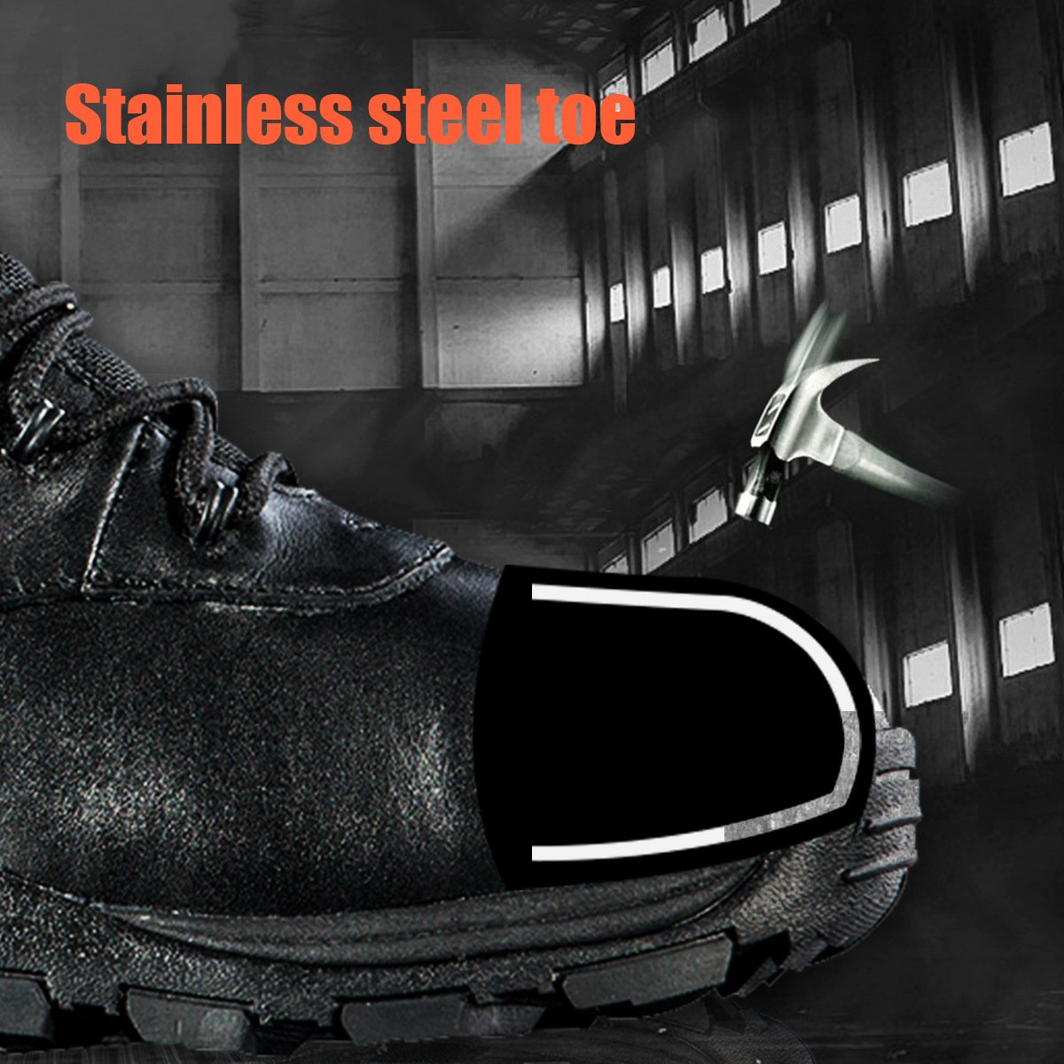 Steel Toe Tactical Boots - FREE SODLIER Waterproof Shoes Penetration Resistant Composite Toe Combat Boot(Black 12.5) by FREE SOLDIER (Image #4)