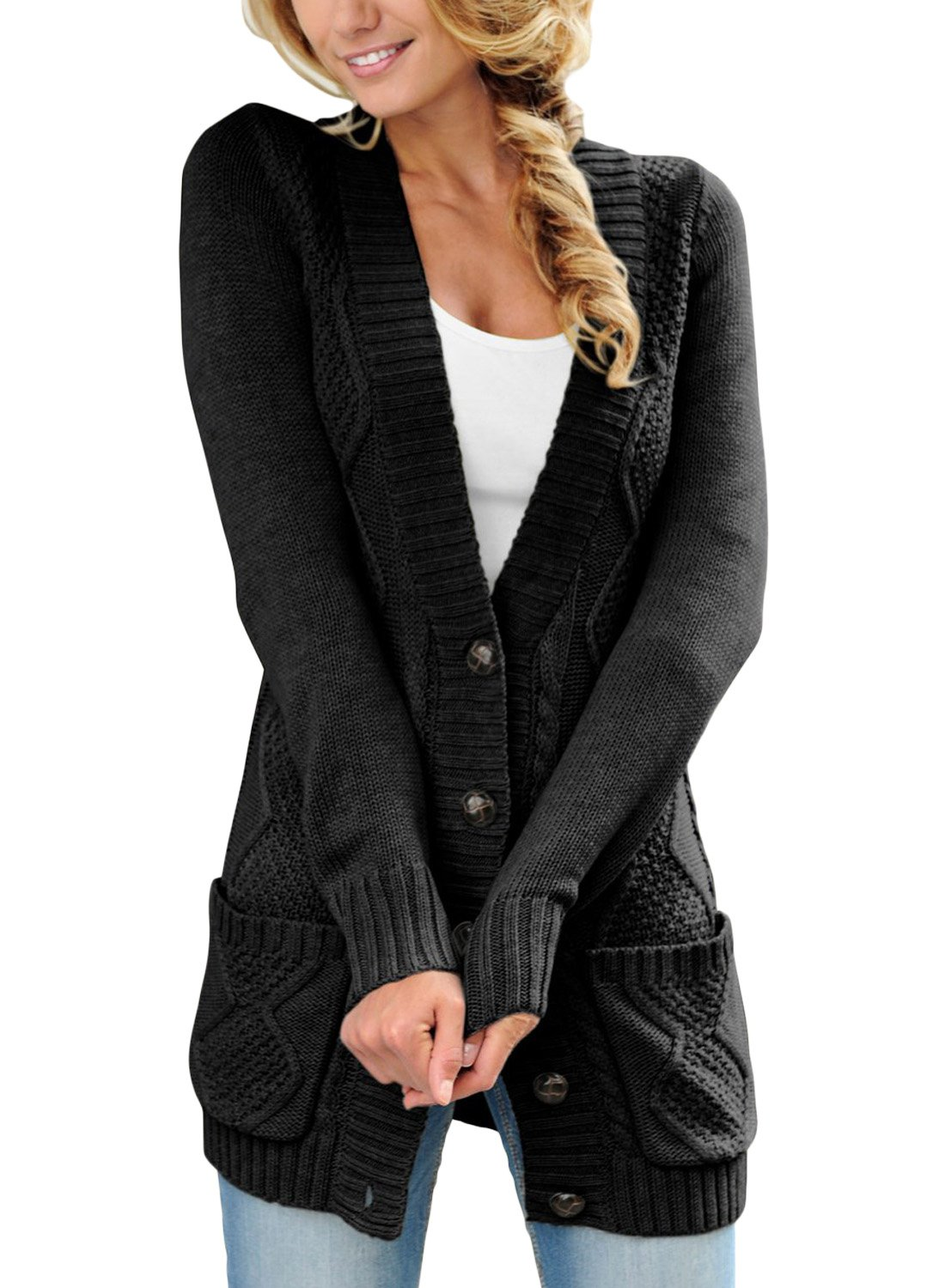 LOSRLY Women Open Front Cabel Knit Cardigan Button Down Long Sleeve Sweater Coat Outwear with Pockets-Black M 8 10