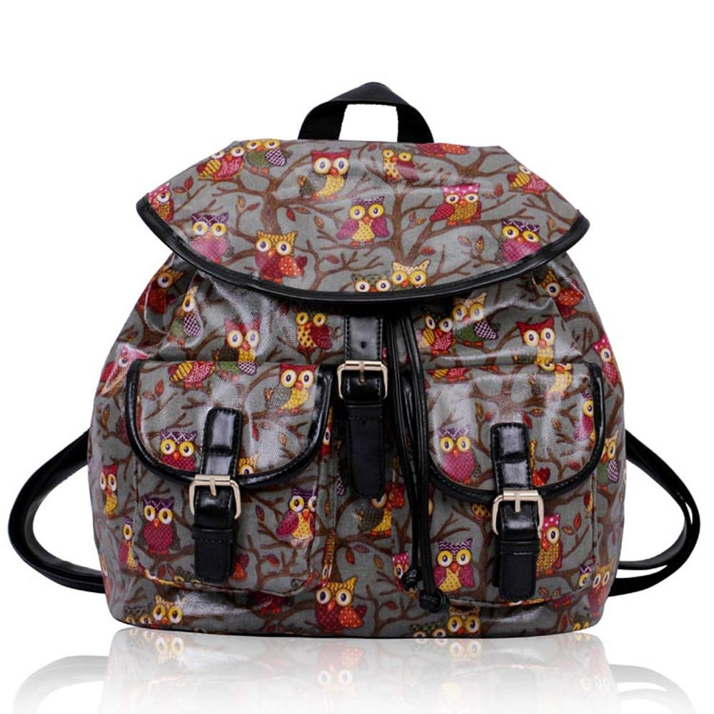 School Backpack Rucksack For Boys Girls Oilcloth With Front Pocket Owl Animal Print New In Sale ANNA GRACE