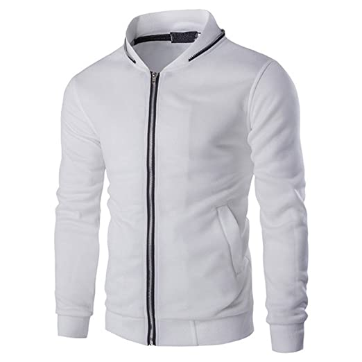 Joshua Sanchez Mens Causal Sweatshirt Baseball Jacket Zip Collar Slim Fit Tracksuits at Amazon Mens Clothing store:
