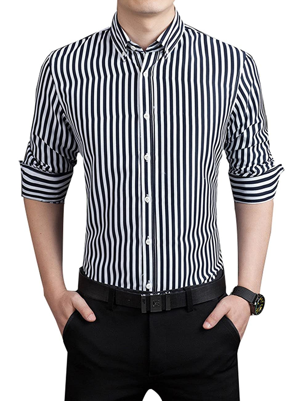Amazon Erztiay Mens Casual Business Vertical Striped Button