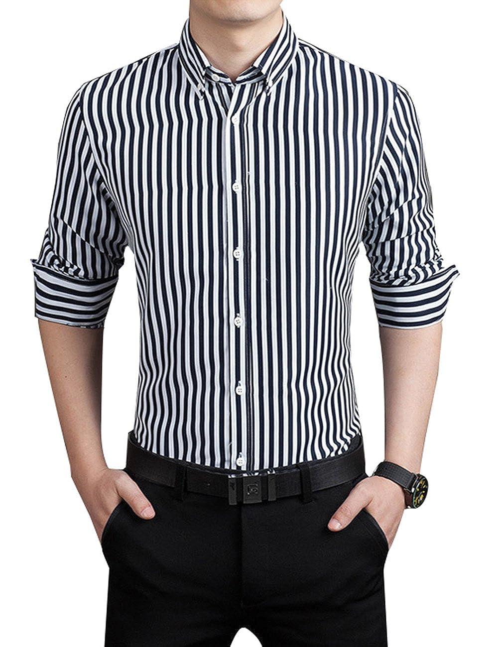 XI PENG Men's Casual Business Vertical Striped Button Down Long Sleeved Dress Shirts