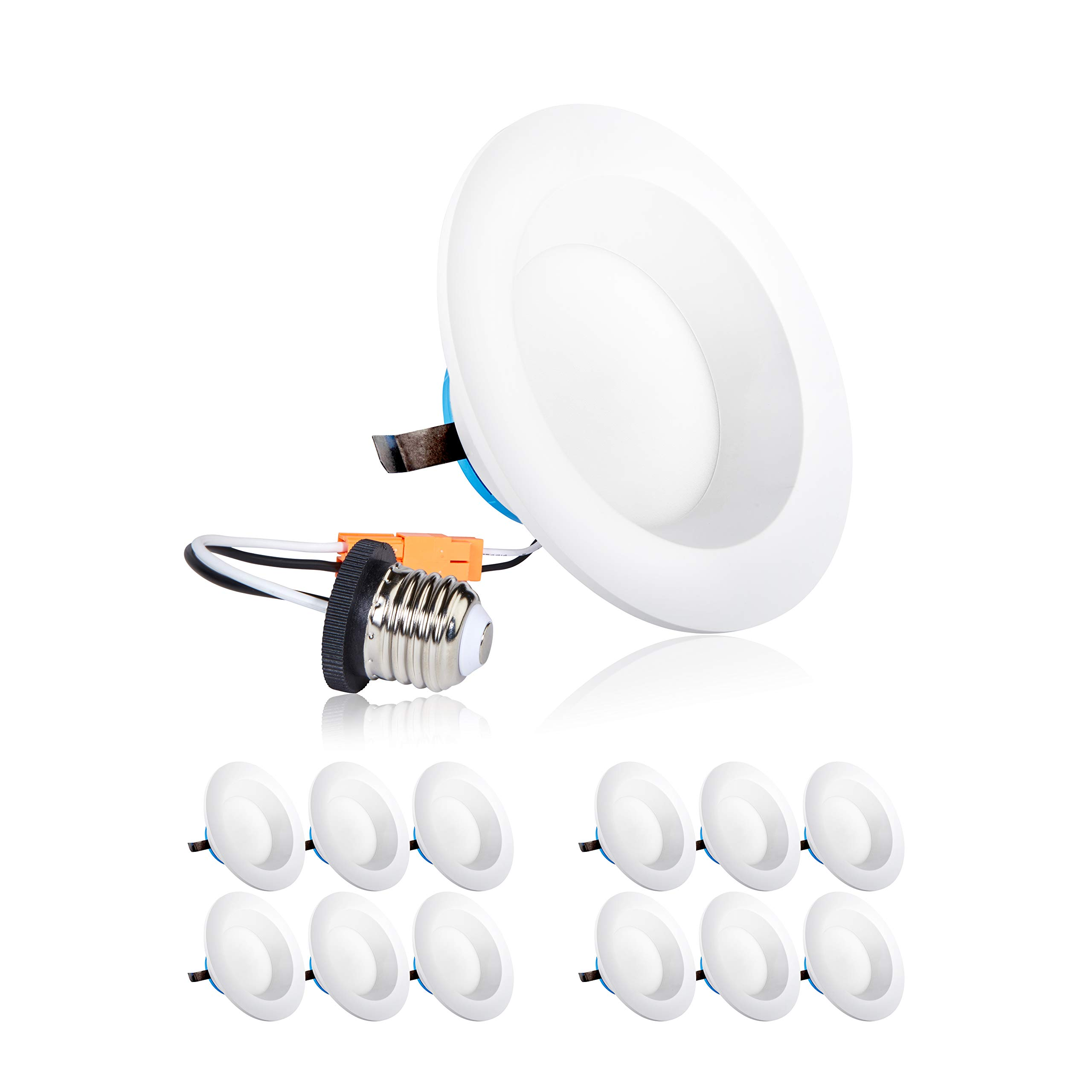 Parmida (12 Pack) 4 inch Dimmable LED Retrofit Recessed Downlight, 9W (65W Replacement), Smooth Design, 600lm, 3000K (Soft White), Energy Star & ETL, LED Ceiling Can Light, LED Trim