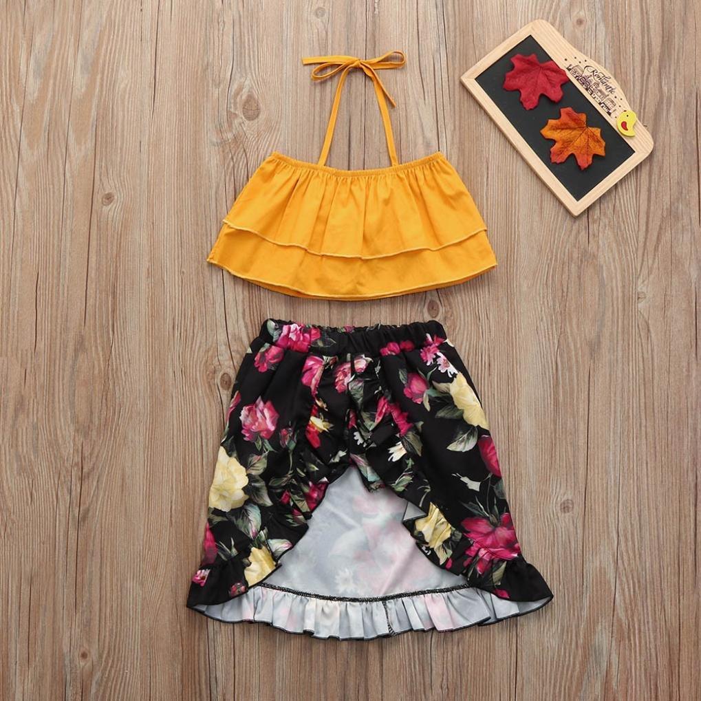 5a459509657 Amazon.com  Toddler Kids Baby Girl Off shoulder Strap Tops Floral Dress  Sister Clothes Set  Clothing