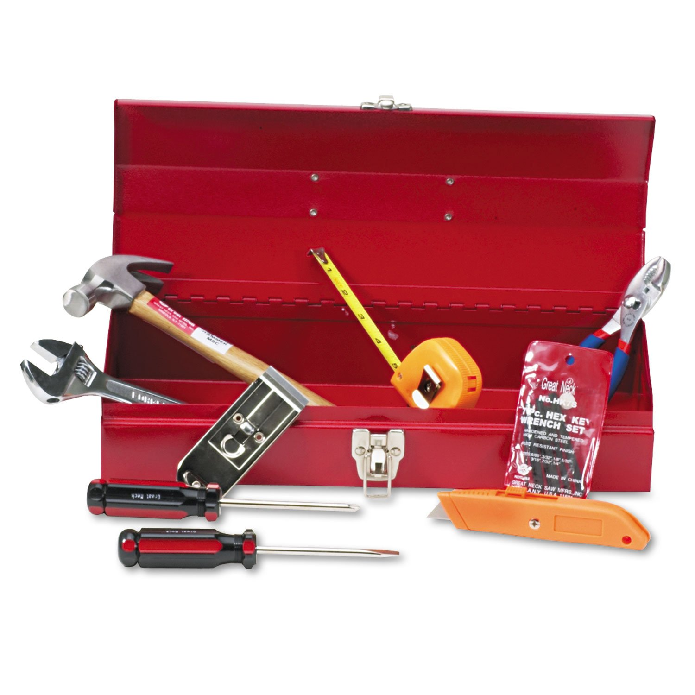 Great Neck CTB9 16-Piece Light-Duty Office Tool Kit, Metal Box, Red