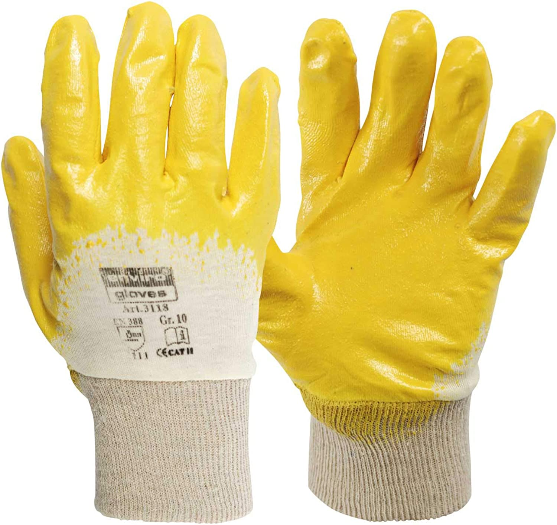 SBS/® Nitrilhandschuhe gelb Gr/ö/ße 9 mit Strickbund 240 Paar