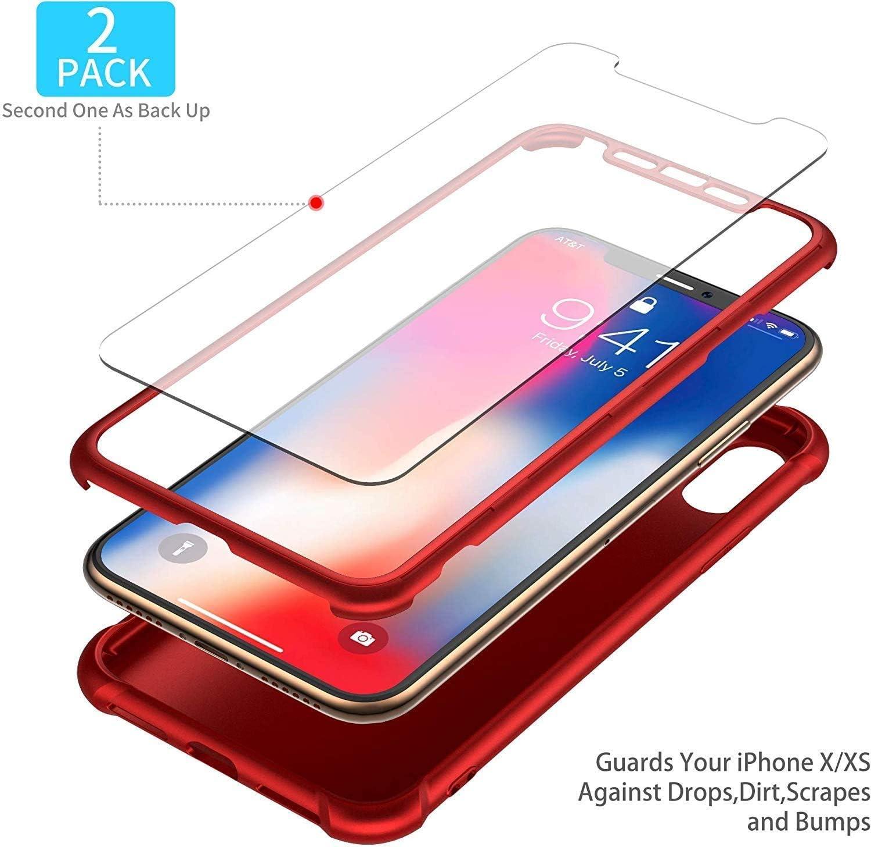 ORETECH Compatibile con Cover iPhone X, Custodia iPhone XS, con [2 x Pellicola Protettiva Vetro Temperato] 360 Ultra Sottile Hard PC TPU Silicone ...