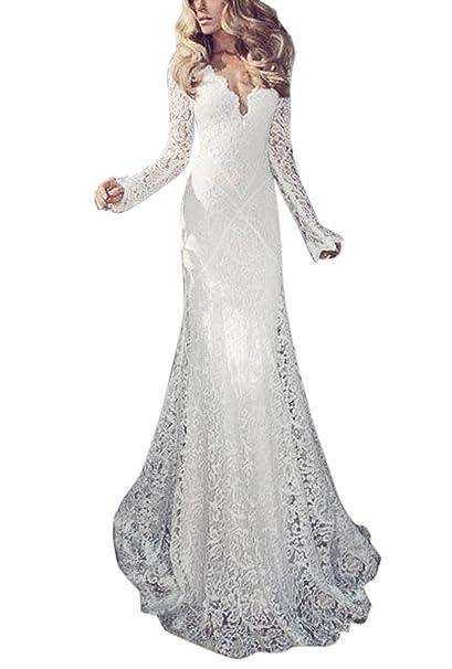 Secreto castillo largo shelth de encaje para vestidos de novia vestidos de novia con manga larga
