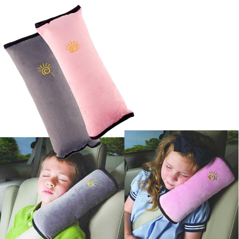 2Pcs Siège enfant Kid véhicules de ceinture harnais d'épaule Auto Voiture Coussin Ceinture de Sécurité Amovible Lavable et Pratique (gris & bleu) Ebeta