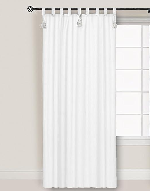 Visillo Cortina , Cortina para Salón Dormitorio , Cortina de Ventana Romántico Rústico Shabby Chic - Tres Borlas y Alzapaños - 150x300 - Blanco - 100% Algodón: Amazon.es: Hogar