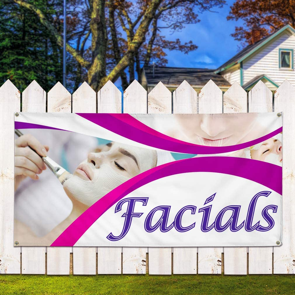 Multiple Sizes Available 8 Grommets One Banner 44inx110in Vinyl Banner Sign Facials #1 Style C Business Facials Marketing Advertising White