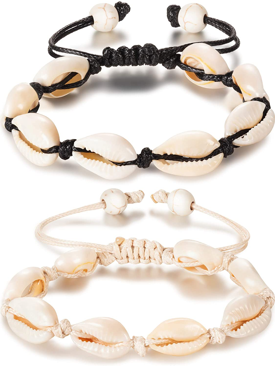 meekoo 2 Pieces Natural Shell Anklet Bracelet Handmade Beach Foot Jewelry Adjustable Boho Beaded Anklet for Women and Girls (Style A)