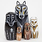 "Bits and Pieces - ""Wynter & His Pack"" Wolf Pack - Matryoshka Dolls - Wooden Russian Nesting Dolls - Wolf - Animal Figurines - Stacking Doll Set of 5"
