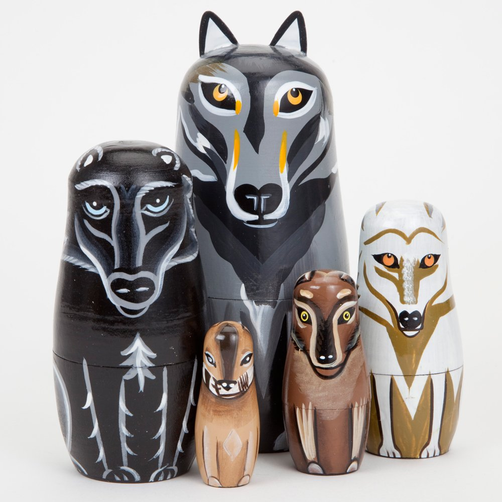 Bits and Pieces - ''Wynter & His Pack Wolf Pack - Matryoshka Dolls - Wooden Russian Nesting Dolls - Wolf - Animal Figurines - Stacking Doll Set of 5