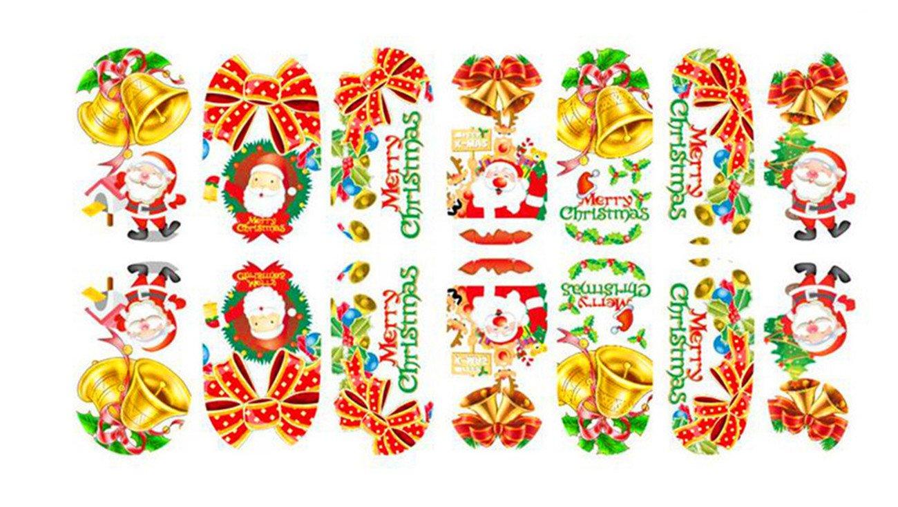 Drawihi 6PCS Etiquetas engomadas del Arte del Clavo de la Navidad Diseño 3D Manicura Consejos Calcomanías Envolturas para Mujeres Niñas: Amazon.es: Hogar