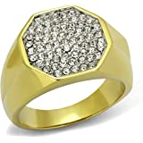 YourJewelleryBox TK2221 SOLITAIRE SIMULATED DIAMONDS MENS RING SIGNET PINKY STAINLESS STEEL