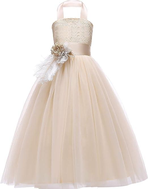 US Girls Kids Crossed Back Bridesmaid Wedding Pageant Party Flower Girl Dress