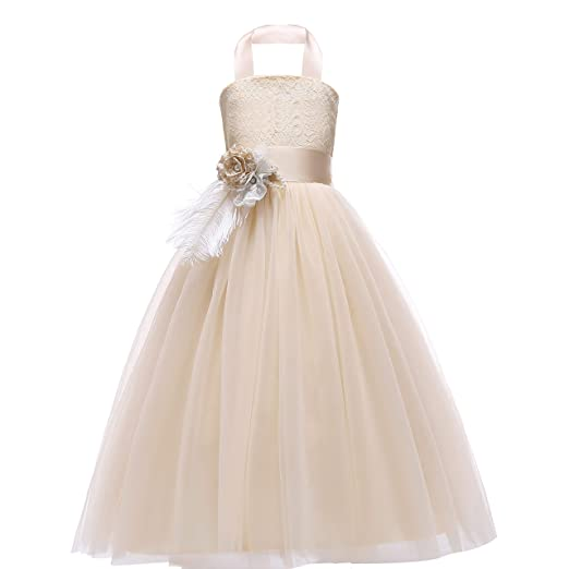 8d394d0eac46f Glamulice Lace Flower Girl Dress Crossed Back Bow Feather Sash Fancy  Princess Dresses Party Pageant Gown Age 3-16Y