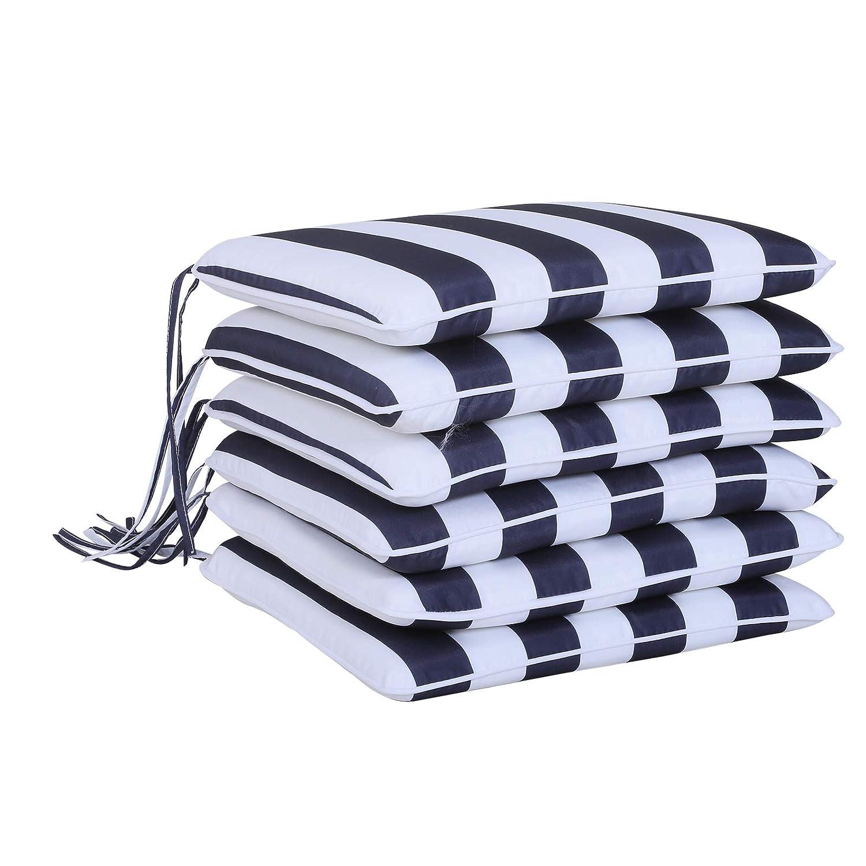 Wei/ß 42 x 42 x 5 cm Baumwollfaser Blau Outsunny 6er-Set Sitzkissen Stuhlkissen Bodenkissen Polsterkissen Sitzauflage abnehmbar Bezug Polyester