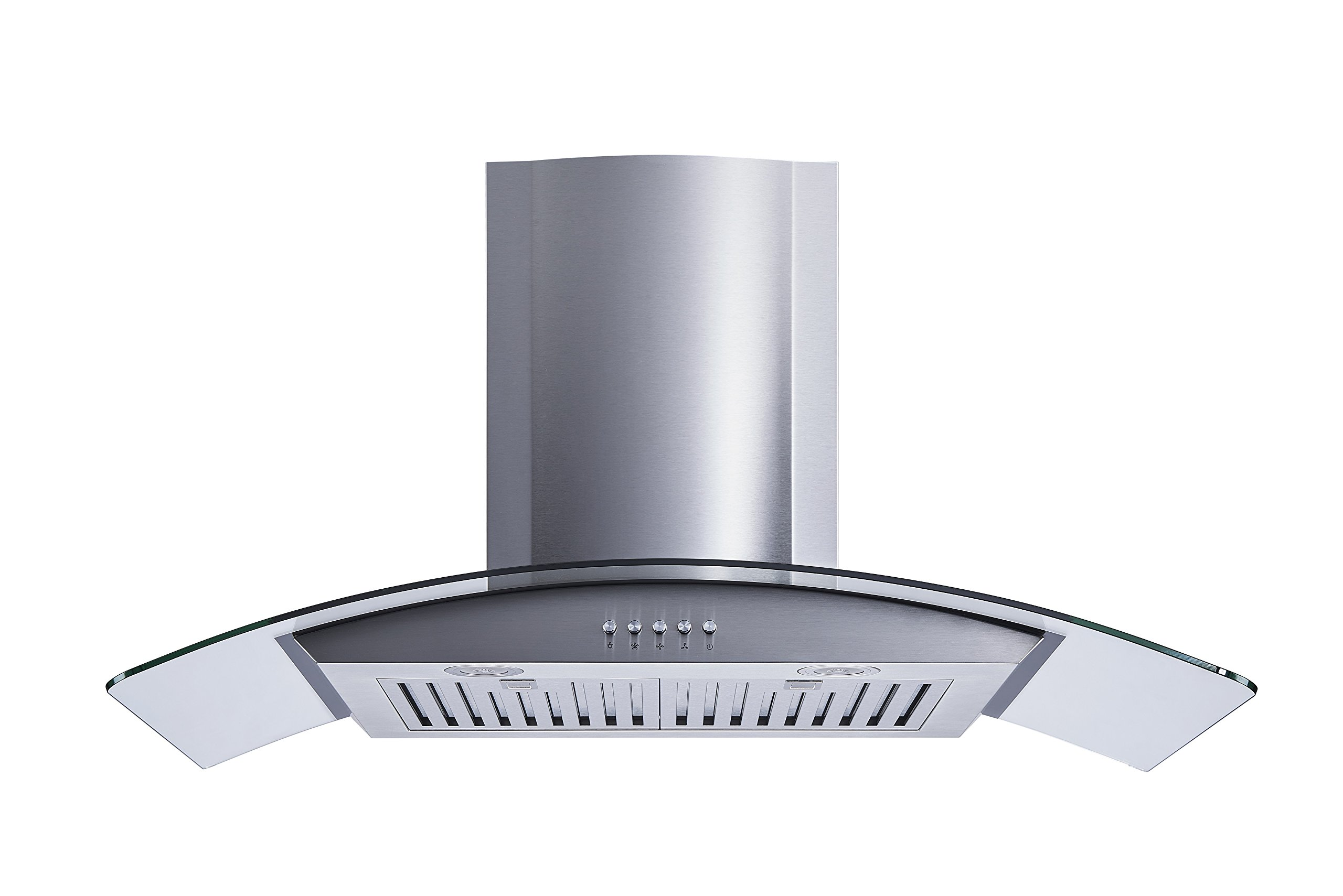 Winflo New 36'' Convertible Stainless Steel/Tempered Glass Wall Mount Range Hood with Stainless Steel Baffle filters, Ultra bright LED lights and Push Button 3 Speed Control