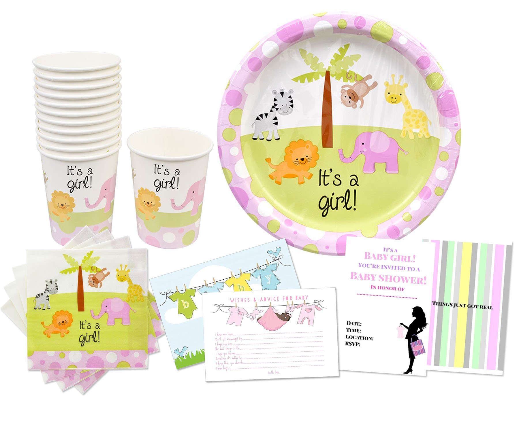 Baby Shower Party Supplies Set for 48 Guests, Baby Shower Tableware Set with Baby Shower Invitations and Baby Shower Wishes and Advice Cards (Brown Baby Girl Things)