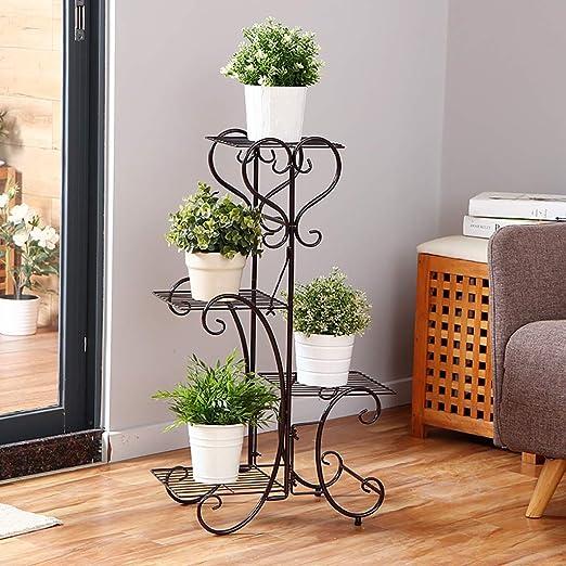 Estantes para plantas / estanteria jardin Soporte de flores de metal Estante de flores de múltiples capas Planta de flores Soporte de pantalla Marrón Interior Balcón al aire libre estanterias de jardi: