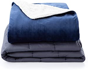 Linenspa20Pound WeightedBlanketwithMinkyand Sherpa Duvet Cover -60x80Inches