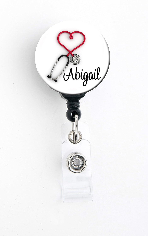 Red Heart Stethoscope Personalized Badge Reel//Badge Holder//RN//Teacher//Nurse//Stocking Stuffer HM