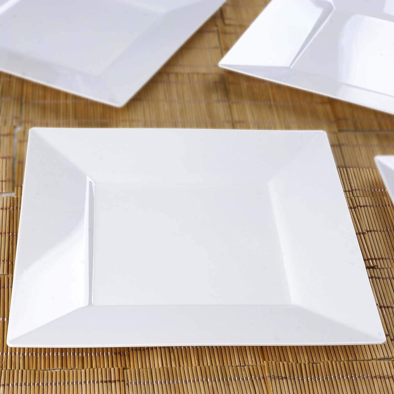 "Efavormart 50 Pcs - White 10"" Square Disposable Plastic Plate Dinner Plates for Wedding Party Banquet Events Decoration"