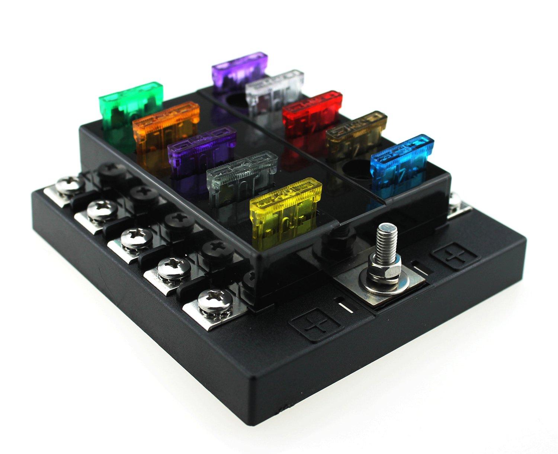 Ambuker DC32V 10 Way Terminals Circuit Car Auto Blade Fuse Box Block Holder with blade fuse kits ATC ATO