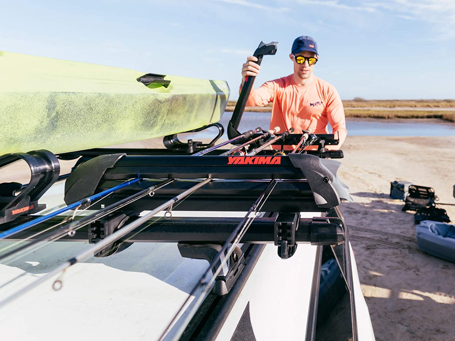 ReelDeal Rooftop Fishing Rod Mount YAKIMA Carries Up to 8 Fully-Rigged Rods