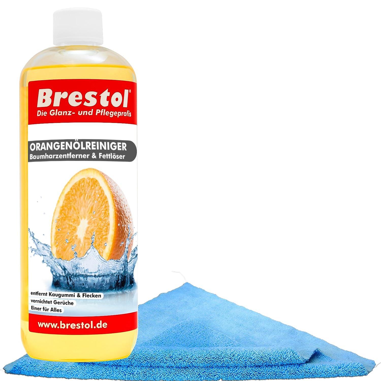 Brestol Orangenö lreiniger Set1 (1000 ml + Zubehö r) - Universalreiniger Fett Ö l Kaugummi Baumharz-Entferner Geruchsneutralisierter