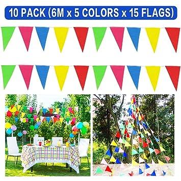 Bornfeel Coloridas Bandera Banderín Decoración 10 Paquetes
