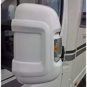 Milenco Clamp-On White Plastic Side Mirror Protecting Cover Set